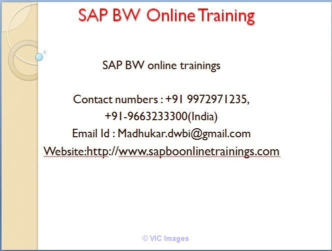 SAP BI BW Training & Tutorial Online With Certification by experts Ottawa, Ontario, Canada Classifieds