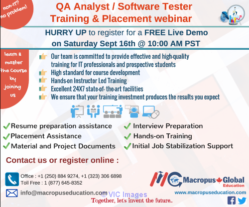 FREE live webinar on QA/Software Testing & Placement Services ottawa