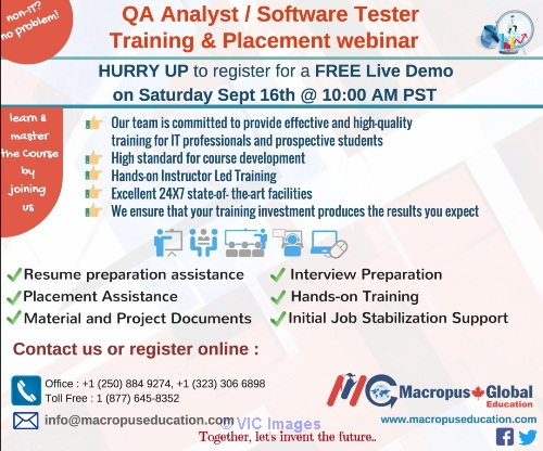 FREE live webinar on QA/Software Testing &PlacementServices. Ottawa, Ontario, Canada Classifieds
