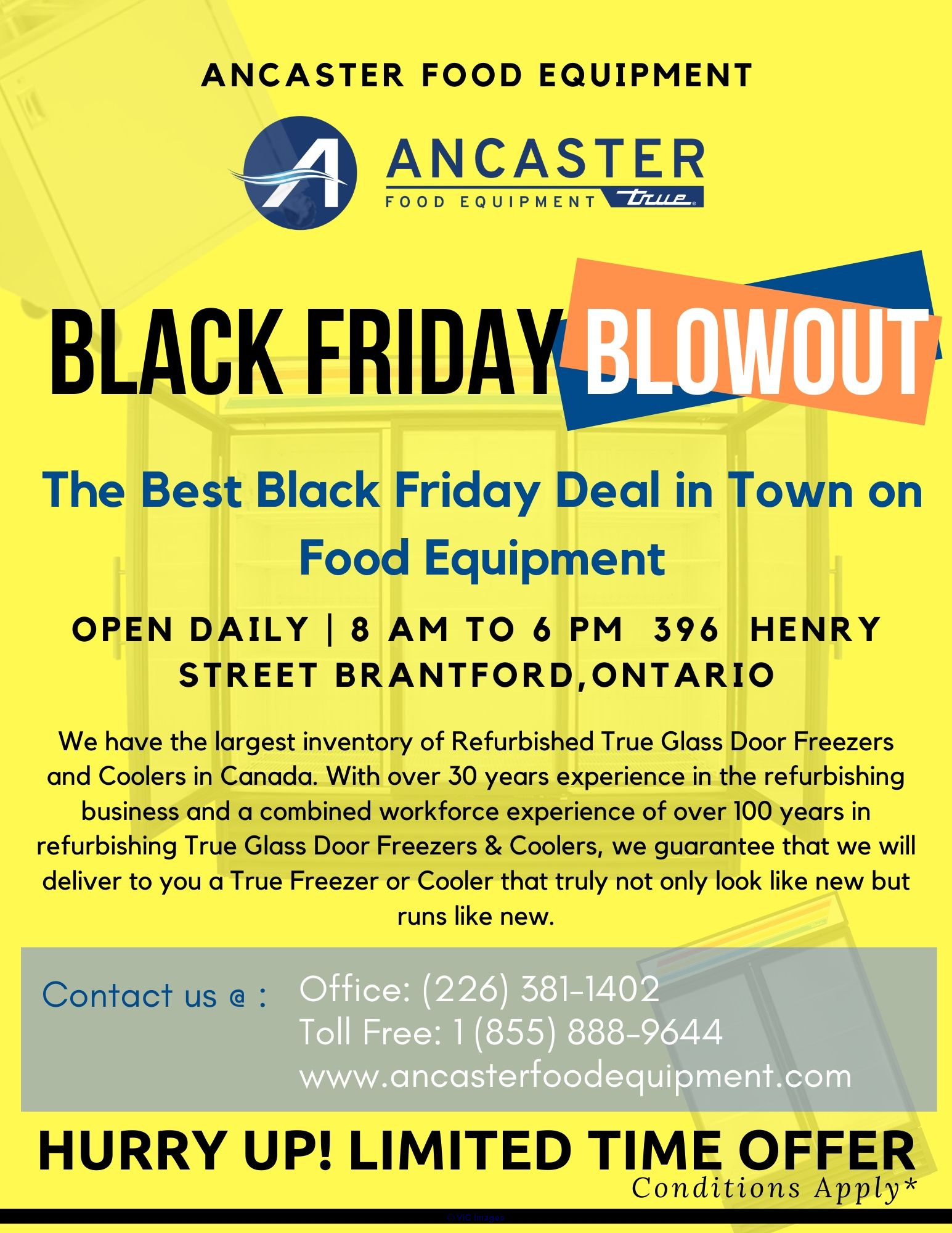 Ancaster Black Friday BlowOut Sale- Refurbished Coolers and Freezers